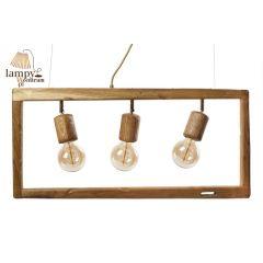 Lampa żyrandol 3 płomienny SIMPLY WOOD ramka HPlampy SI3W
