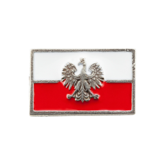 A pin miniature of the Polish flag with a modern eagle - PINS