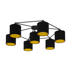 Ceiling lamp 7 flame STAITI black lampshade EGLO 97895