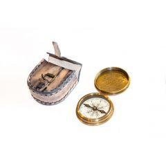 Kompas mosiężny w skórzanym etui COM-0301 Gift Shop