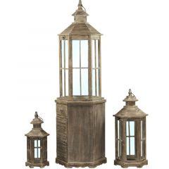 Wooden Lantern Set 3 / S (Iicz) 76639