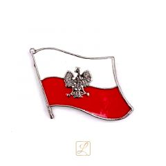A pin miniature of the Polish flag with an eagle on its background - PINS