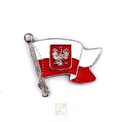 Przypinka białoczerwona bandera z orłem - PINS