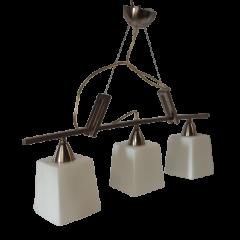 Lampa wisząca 3 płomienna klosze kwadratowe Candelux