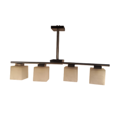 Lampa wisząca 4 płomienna kostki murano Messing