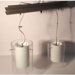 Lampa wisząca 2 płom. Szklanki szary klosz przezroczysty, biały matowy E27 Namat