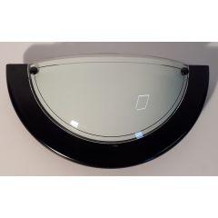 Kinkiet 1 pł. 1/2 czarny szkło białe E27 Marbet