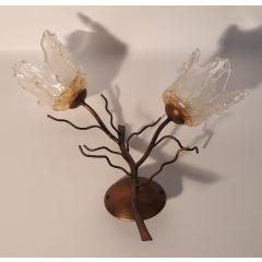 Kinkiet 2 pł. Drzewko brąz szkło białe E14 Icaro