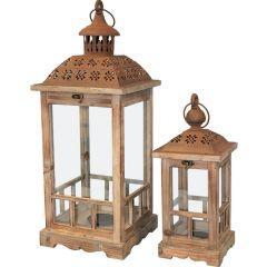 Wooden Lantern Set 74244