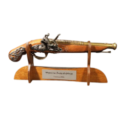 WOODEN STAND WITH DEDICATION for weapons, pistol, sword, rifle