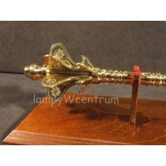 Brass buzzer on a wooden tablo - replica