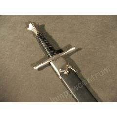 One-handed knight's sword, hardened, 15th century, with scabbard - replica