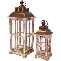 Wooden Lantern Set 74242