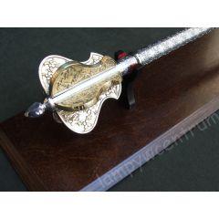 Buzdygan power insignia on a wooden tablo pattern 2 steel brass replica