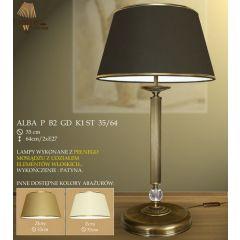 Lampa nocna 2 płomienna Alba P B2 GD K1 ST 35/64 ryflowana + kryształek ICARO