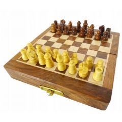 SZA5 folding wooden magnetic chess 12.5x12.5cm