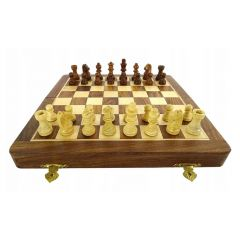 SZA10 folding wooden magnetic chess 25x25cm