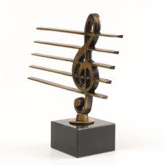 Statuetka klucz wiolinowy na pięciolinii Mosiądz, marmurowa podstawa ZOBACZ FILMIK!