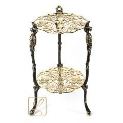 Low round table with 2 tops, Brass No. 7