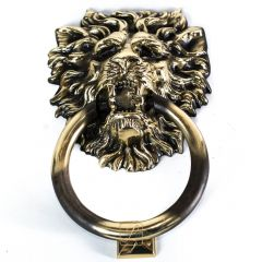 Door knocker LION lush mane, handle, Brass