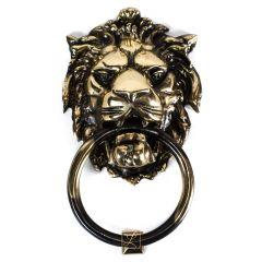 Door knocker LARGE LEFT mane, with bell function Brass