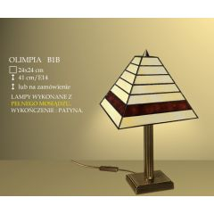 Lampa stołowa 1 płom. Olimpia klosz witrażowy 24cm beżowo brązowy B1B ICARO