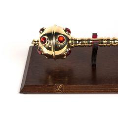 Royal scepter mace on a wooden tablo brass - replica