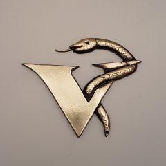 Eskulap veterinary medicine veterinary logo low relief Brass