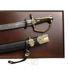 Hussar saber of the 17th century with scabbard, forged blade, hardened + hanging table included