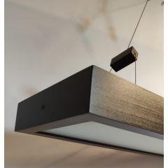 Lampa 2 płom. z półką Pola drewno brązowe szkło piaskowane TOPMET