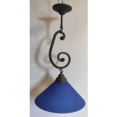 Lampa 1 płom. Lira kuta szary klosz niebieski E27