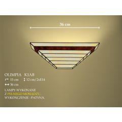 Lampa kinkiet 2 płom. Olimpia klosz witrażowy beżowo brązowy K1ADB ICARO