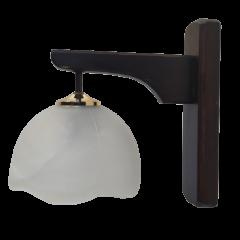 Lampa kinkiet 1 płomienna drewno biały klosz KOWANÓWKO
