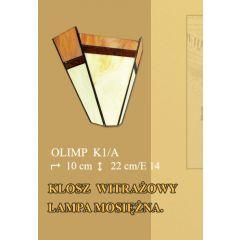 Lampa kinkiet 1 płom. Olimp klosz witrażowy beżowo brązowy K1A  ICARO