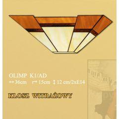 Lampa kinkiet 2 płom. Olimp klosz witrażowy beżowo brązowy K1AD ICARO