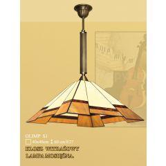 Lampa wisząca 1 płom. Olimp klosz witrażowy 40cm beżowo brązowy S1 ICARO