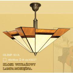 Ampla 4 płom. Olimp klosz witrażowy 40cm beżowo brązowy S1/A ICARO