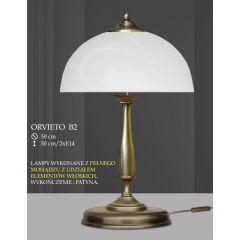 Lampa biurkowa 2 płomienna ORVIETO klosz biały krem B2 ICARO