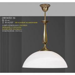 Lampa wisząca 1 płomienna ORVIETO klosz biały krem S1 ICARO