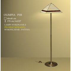 Lampa podłogowa 4 płom. Olimpia klosz witrażowy 40cm beżowo brązowy P1B ICARO