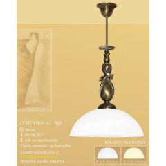 Lampa wisząca pojedyncza CORDOBA AL klosz alabaster Ø 35cm biały krem S1B ICARO