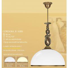 Lampa wisząca 1 płom. Cordoba R klosz opal Ø 38cm biały krem RS1BH RS1BHE ICARO