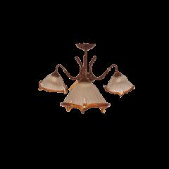 Lampa plafon 3 pł brązowa klosze fusing Luminex