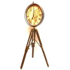 "Big clock in a brass housing - ""World map"" on a wooden tripod, max. 88cm, d. 30cm - code WWSA GiftDeco"