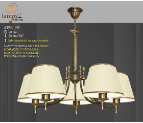 Lampa żyrandol 5 płomienny Apis P S5 abażur ICARO